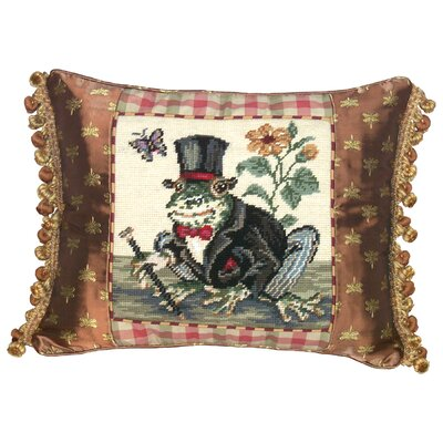 Frog-Gentleman 100% Wool Needlepoint Pillow with Fabric Trimmed