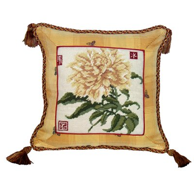 Peony 100% Wool Needlepoint Pillow with Fabric Trimmed