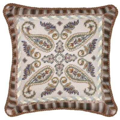 Paisley 100% Wool Needlepoint Pillow with Fabric Trimmed