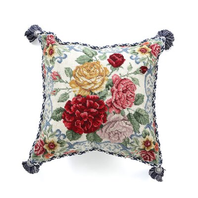 Mandarin Garden - Rose 100% Wool Needlepoint Pillow
