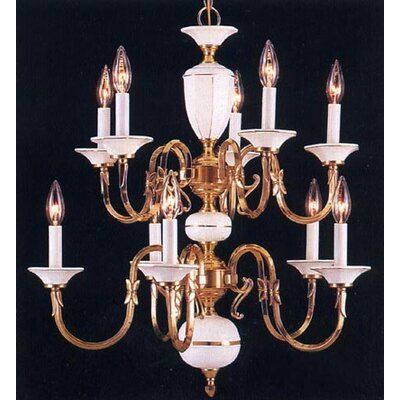 Touch of Brass and Ceramic 10 Light Chandelier