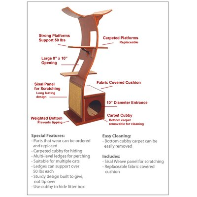 "The Refined Feline 69"" The Lotus Cat Tree in Espresso"
