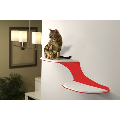The Refined Feline Clouds Wall Mounted Faux Fur and Metal Cat Perch