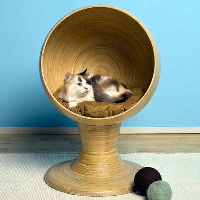 The Refined Feline Kitty Ball Bamboo Cat Bed