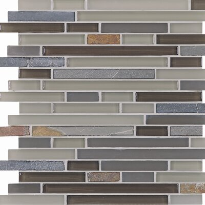 "Casa Italia Pure & Natural 11-3/4"" x 11-3/4"" Natural Stone and Glass Mosaic in Pure Grey and Natural Slate"