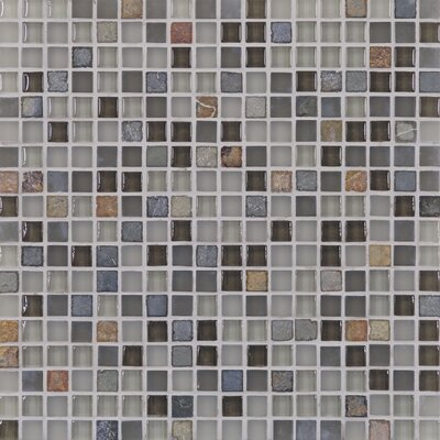 "Casa Italia Pure & Natural 11.75"" x 11.75"" Natural Stone and Glass Mosaic in Pure Grey and Natural Slate"