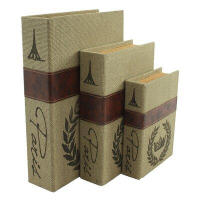 Paris 3 Piece Burlap Faux Book Box Set