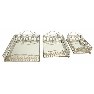 Aspire Mirrored Rectangular Serving Tray (3 Piece Set)