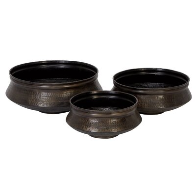 Aspire Round Antique Bronze Planters (Set of 3)
