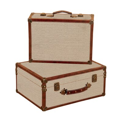 Burlap Decorative Suitcases (Set of 2)
