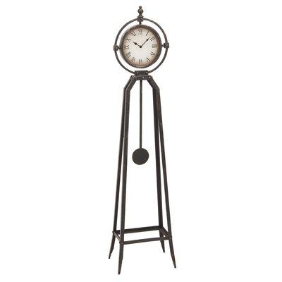 Rustic Metal Floor Clock with Pendulum