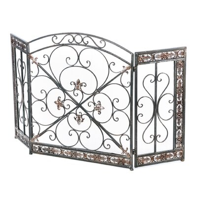 <strong>Aspire</strong> Fleur De Lis 3 Panel Iron Fireplace Screen