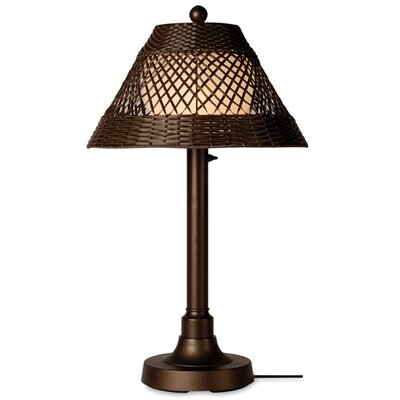 Patio Living Concepts Java 34&quot; Table Lamp with Walnut Shade and 2&quot; Column in Bronze