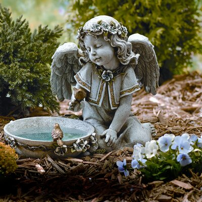 "Roman, Inc. 10.75"" Angel Seated with Solar Powered Birdbath Figurine"