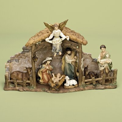 Roman inc 9 piece nativity set with stable amp reviews wayfair