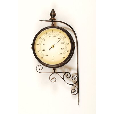 Ashton Sutton Bracket Wall Clock with Thermometer in Dark