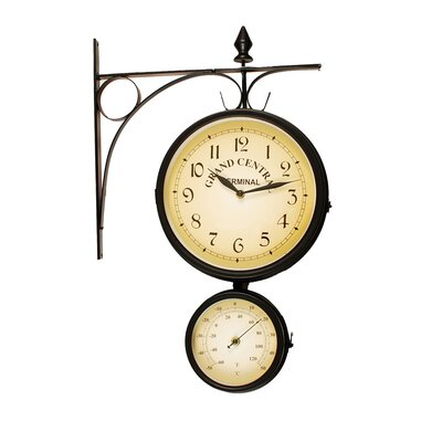 Ashton Sutton Bracket Clock with Thermometers in Dark