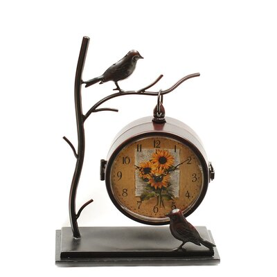 Ashton Sutton Table Clock with Bird in Dark Metallic