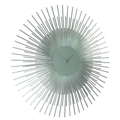 Ashton Sutton Silver Sunburst Wall Clock