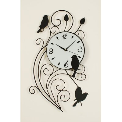 Metal Wall Clock with Bird Pendulum