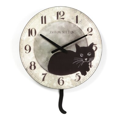 Ashton Sutton Kate Wall Clock with Cat Design