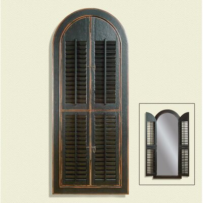 Bassett Mirror Arched Shutter Mirror - Rusticated Black