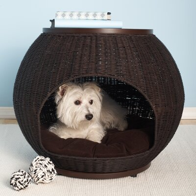 The Refined Canine The Igloo Deluxe Wicker End Table Dog Bed