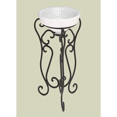 St Thomas Creations Granada Wrought Iron Pedestal with Bali Hai Vessel Bathroom Sink