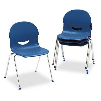 Virco IQ Plastic Stack Chair, Navy, Chrome Frame, Four/Carton