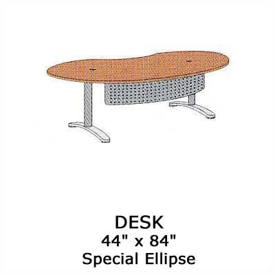 "Virco Plateau 84"" W Ellipse Executive Desk with Bi-Point Legs"