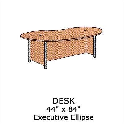 "Virco Plateau 84"" W Executive Ellipse Desk"