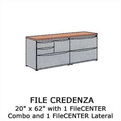 Virco Plateau Office Series File Credenza with 1 Lateral