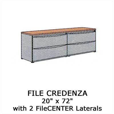 Virco Plateau Office Series File Credenza with 2 Laterals