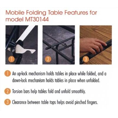 "Virco Rectangular Mobile Duofold Table with T-mold Edge (30"" x 96"")"