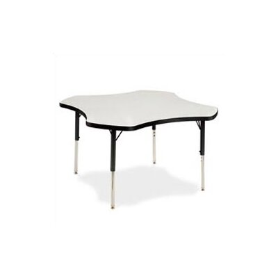 "Virco 4000 Series 48"" Clover Activity Table with Fully Chrome Legs"