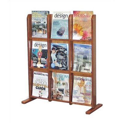 Virco Wooden Literature Display, 9 Pockets