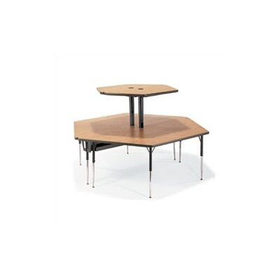 "Virco 2-Single Technology Tables with Shelves Ganged Together (84"" x 96"")"