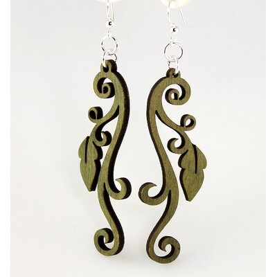 Green Tree Jewelry Leaf on Vine Earrings