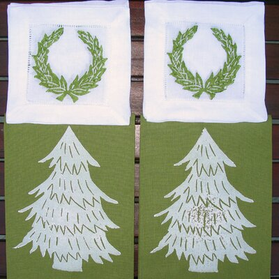 Tree Guest Towel and Wreath Cocktail Napkin Set