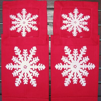 Lowcountry Linens Snowflake Guest Towel and Snowflake Cocktail Napkin Set