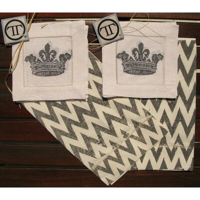 Lowcountry Linens French Chevron Guest Towel with French Crown Cocktail Napkin Set