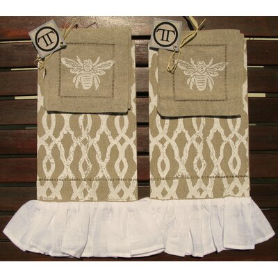 Lowcountry Linens Fretwork Ruffled Guest Towel with Bee Cocktail Napkin Set