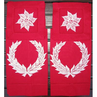 Wreath Guest Towel and Poinsettia Cocktail Napkin Set