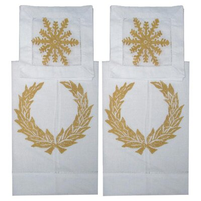 Lowcountry Linens Wreath Guest Towel and Snowflake Cocktail Napkin Set