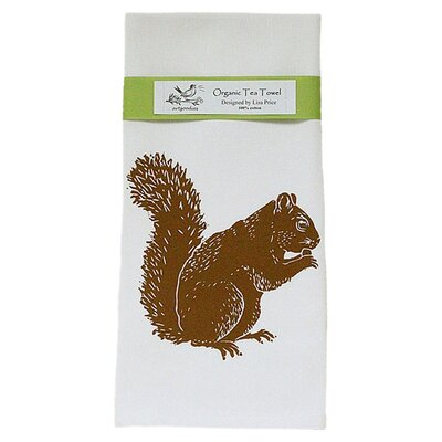 Organic Squirrel Block Print Tea Towel