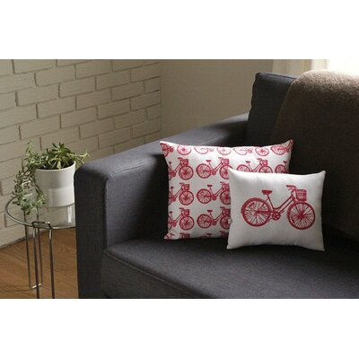 Artgoodies Bike All Over Pattern Block Print Accent Pillow