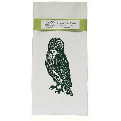 Organic Owl Block Print Tea Towel