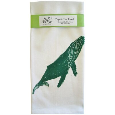 Organic Whale Block Print Tea Towel