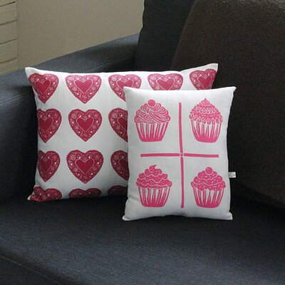 Artgoodies Heart All Over Pattern Block Print Sham Accent Pillow