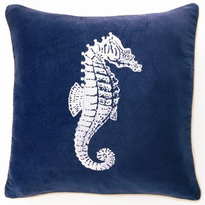 Seahorse Down Filled Embroidered Velvet Pillow